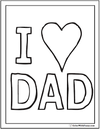 I Love Dad Fathers Day Coloring Card With Heart FathersDayColoringPages And KidsColoringPages At