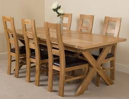 Vermont Solid Oak 200cm 240cm Crossed Leg Extending Dining Table With 6 Yale