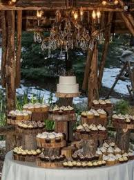 2 Tiered Wedding Cake With Cupcakes Is U Alternative To A Multi At Hidden Creek Lodge Love The Rustic Stand