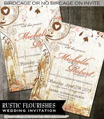Country Rustic Wedding Invitation Chic Fancy Flourishes On Invitations