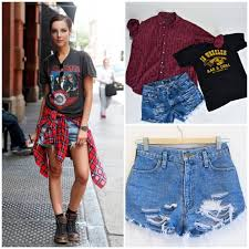 Back To School Mystery Grunge 90s Outfit Flannel Jean Shorts Boho Concert Style On Storenvy
