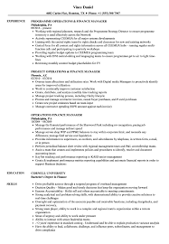 Operations Finance Manager Resume Samples