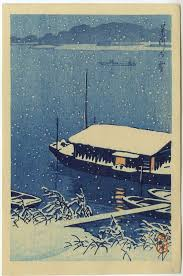 HASUI Japanese Woodblock Print Snow On River Early Printing 1930s