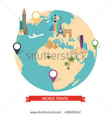 Travel To World Tourism Vector Illustration Of Flat Design Composition With Famous