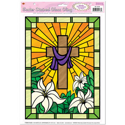 The Beistle Company Easter Stained Glass Cling Party Accessory