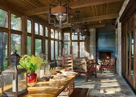 Design Ideas Classic Rustic Ranch Style For The Spacious Sunroom With Dining Area