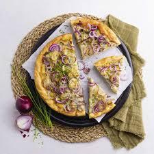 vegetarischer zwiebelkuchen mit hefeteig