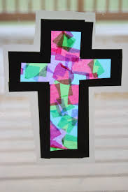 Stained Glass Tissue Paper Cross