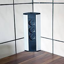 steckdose für küche und büro ecksteckdose aus aluminium und hochwertigem kunststoff ideal für arbeitsplatte tischsteckdose oder unterbausteckdose
