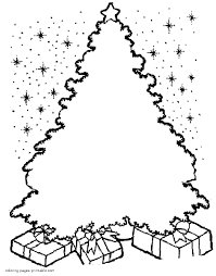 Coloring Pages Christmas Tree Draw Ornaments Himself And Colour