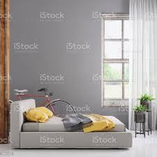 schlafzimmer innenraum mit leeren wandschablone stockfoto und mehr bilder architektur