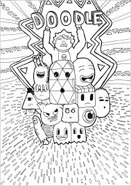 Doodle Art Representing A Lot Of Imaginary Characters