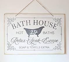 ruskin352 bath house schild bath decor vintage badezimmer baths seife handtücher badezimmer decor rustikal farmhouse shabby chippy dekokatze weiß
