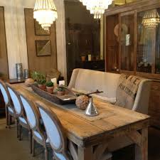 Refinished And Sun Bleached Antique Pine Harvest Farm Dining Table Love The Chairs Paired With A Long Bench