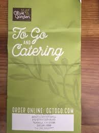 The To Go and Catering Menu Card 2 Picture of Olive Garden