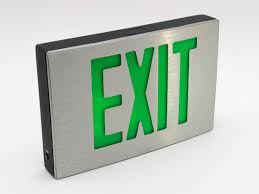 aluminum led exit sign green lettering battery backup sdcb1gba