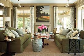 green traditional living room interior design