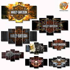 Image Is Loading 5pcs Oil Painting Harley Davidson Cycles Rider Canvas