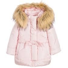monnalisa bebé baby girls pink padded coat hood u0026 fur trim