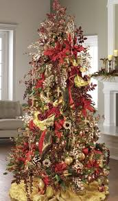 Our Traditional Nativity Tree Has A Color Pallet Of Red And Gold Along With Pattern Burgundy Ribbon Outlined Stitching