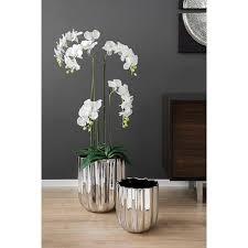 fink übertopf tulip silberfarben blumenübertopf blumentopf vase handgefertigt aus keramik verschiedene durchmesser erhältlich wohnzimmer