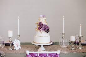 Modern Purple Gold Wedding Cake
