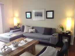 Terrific Gray Sectional Sofa With Barn Wooden Table As Well Corner Living Lamps In Cozy Room Ideas