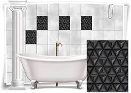 medianlux fliesen aufkleber bild mosaik kachel grau schwarz retro dreiecke bad wc deko folie badezimmer 12 stück 20x25cm