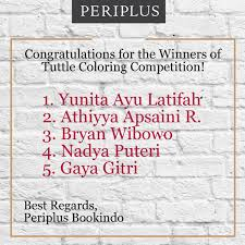 Congratulations For The Winners Of Tuttle Coloring Competition 18 July 15 August 2016
