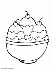 Coloring Pages Of Food Free Ice Cream Sundae Page Printable