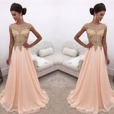 elegant gold lace appliques prom dresses 2017 a line chiffon floor