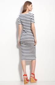 french connection stripe knit midi sheath dress in black lyst