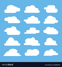 100 Flat Cloud Cloud On Blue Background