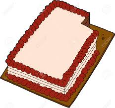 Hand Drawn Fancy Sheet Cake With Missing Slice Royalty Free