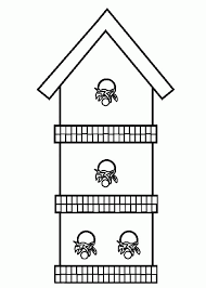 Three Story Bird House Coloring Pages