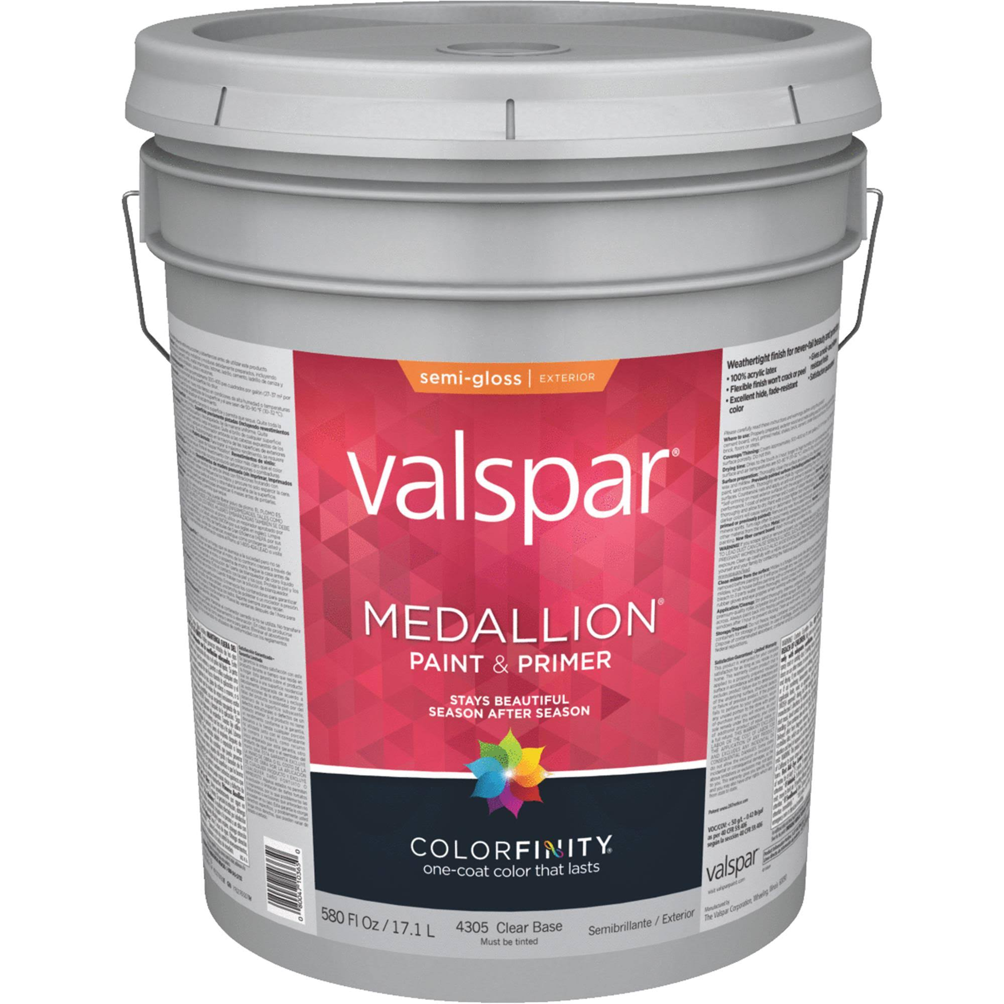 Valspar Medallion Exterior Latex Paint - Semi-gloss, 5 Gallon