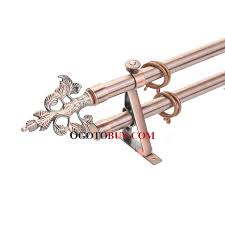 Telescoping Curtain Rod Set by Brilliant 19 Inch Rose Gold Leaf Pattern Finial Double Curtain