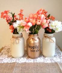 3 Shining shimmering gold Painted mason jars vase vintage
