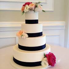 Classic Wedding Cake Design Black Ribbon Flowers Sweet Memories Bakery NC