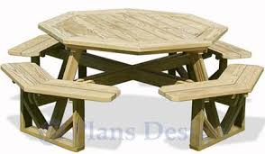 classic large octagon picnic table bench woodworking plans
