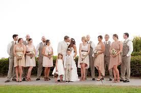Different Bridesmaid Dresses In Tan With Groomsmen Darker