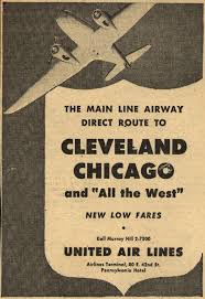 United Air Lines Cleveland Chicago The Main Line Airway Direct Route To