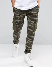 image 1 of asos slim camo joggers with cargo pockets everything