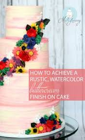 How To Achieve A Rustic Watercolor Buttercream Finish On Cake PipingWatercolor TutorialWedding