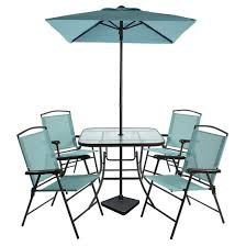 7pc metal folding patio dining set turquoise room essentials
