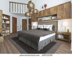 Bedroom Loft Style Wooden Furniture And Walls Rustic Ideas Interior A Large Bed With
