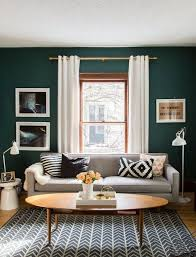 Surprising Small Living Room Ideas Rectangular Rustic Decorating Dark Green Wall Color Golden Rail White Curtain Ellipse