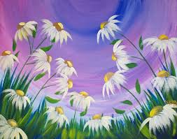 How To Paint EASY Spring Flowers Acrylic Painting On Canvas For