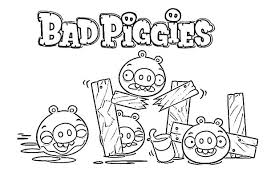 Angry Bird Pigs Is Bad Piggies Coloring Pages