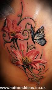 Butterfly Flower Tattoo For Lower Back